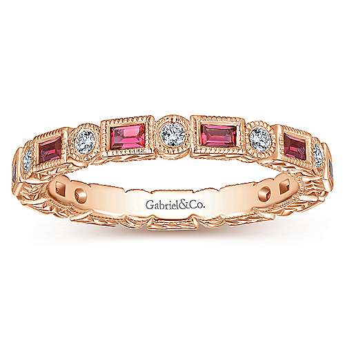 14K Rose Gold Ruby Baguette and Diamond Round Eternity Ring