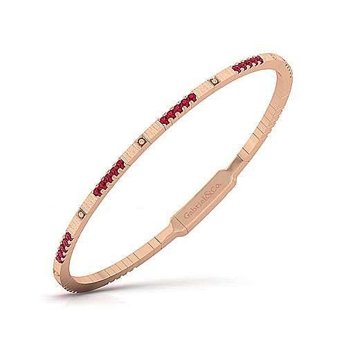 14K Rose Gold Ruby Bangle