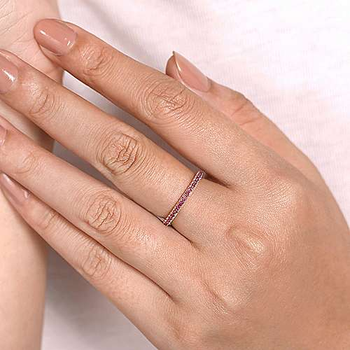 14K Rose Gold Ruby Stackable Ring