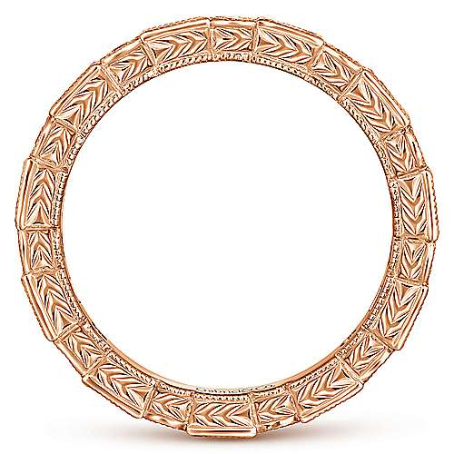 14K Rose Gold Sapphire Baguette and Diamond Round Eternity Ring
