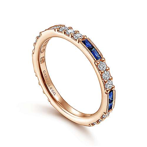14K Rose Gold Sapphire Baguette and Diamond Stackable Ring