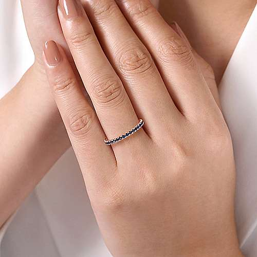 14K Rose Gold Sapphire Stackable Ring
