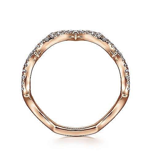 14K Rose Gold Scalloped Diamond Ring