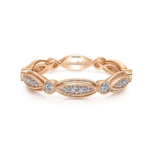 14K Rose Gold Scalloped Stackable Diamond Ring