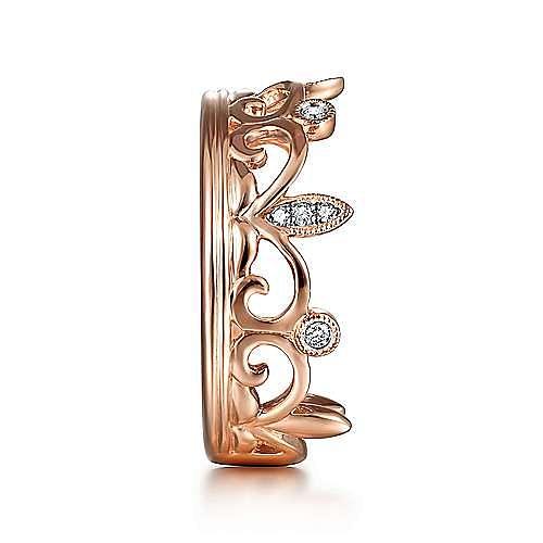 14K Rose Gold Scrolling Diamond Crown Ring