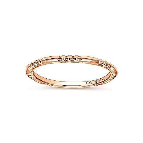 14K Rose Gold Sculpted Beaded Midi Ring