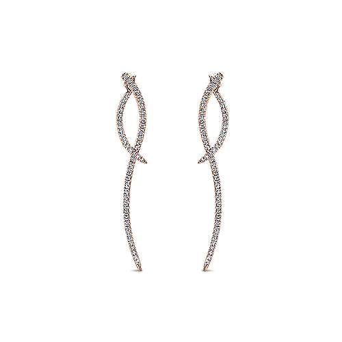 14K Rose Gold Sculptural Diamond Drop Earrings