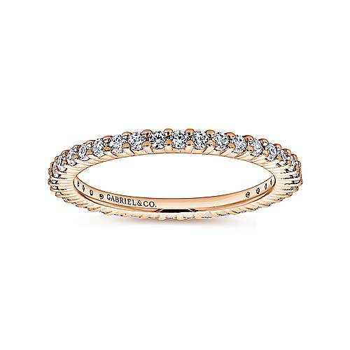 14K Rose Gold Shared Prong Diamond Eternity Band