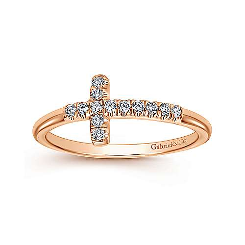 14K Rose Gold Sideway Diamond Cross Ring