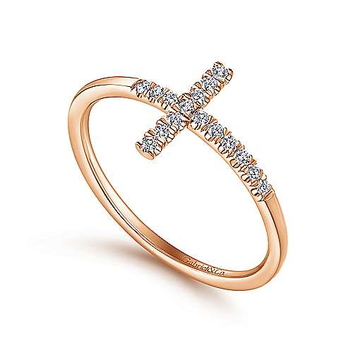 14K Rose Gold Sideways Cross Diamond Ring