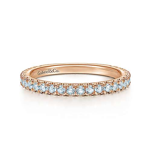 14K Rose Gold Sky Blue Topaz Stackable Ring
