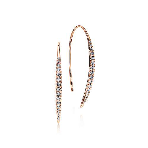 14K Rose Gold Slim Tapered Diamond Drop Earrings