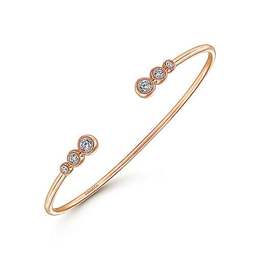 14K Rose Gold Split Bezel Set Diamond Bangle