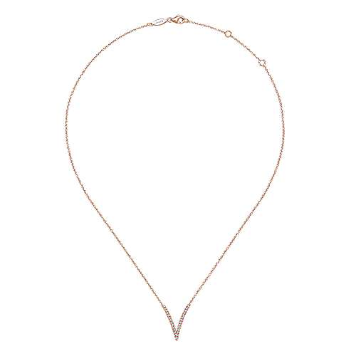 14K Rose Gold Split Chain Diamond V Necklace