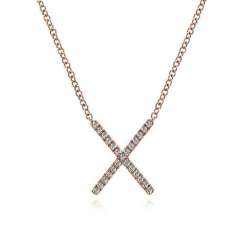 14K Rose Gold Split Chain Diamond X Necklace