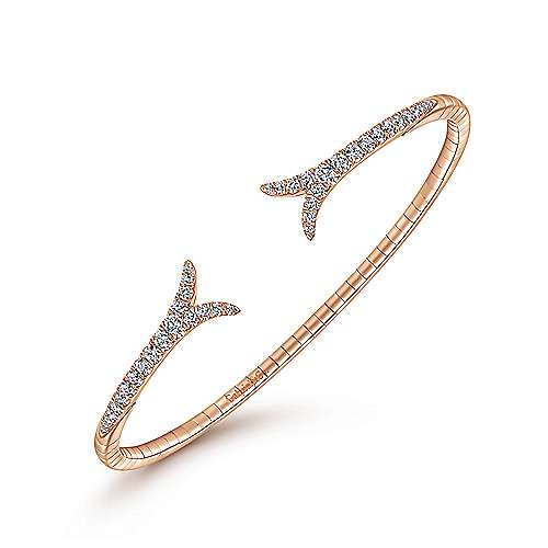 14K Rose Gold Split Diamond Bangle