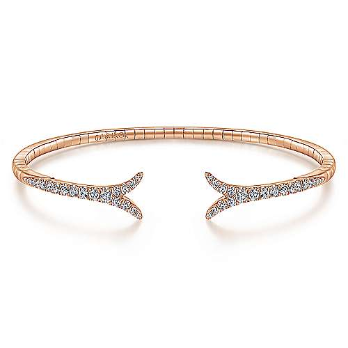14K Rose Gold Split Diamond Bangle