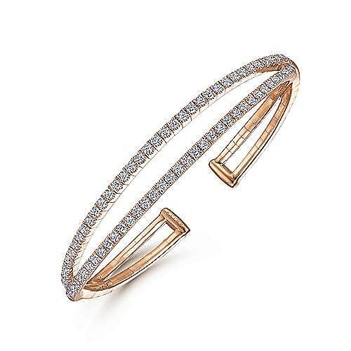 14K Rose Gold Split Diamond Cuff