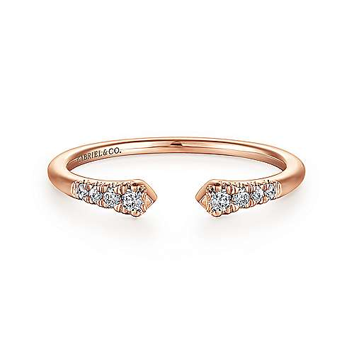 14K Rose Gold Split Diamond Stackable Ring