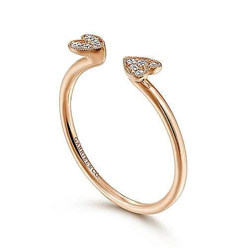 14K Rose Gold Split Pavé Heart Diamond Ring