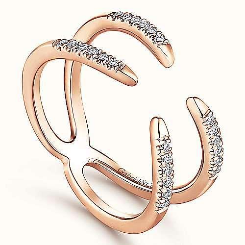 14K Rose Gold Split Shank Open Claw Diamond Ring