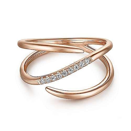 14K Rose Gold Split Shank Pavé Diamond Wrap Ring