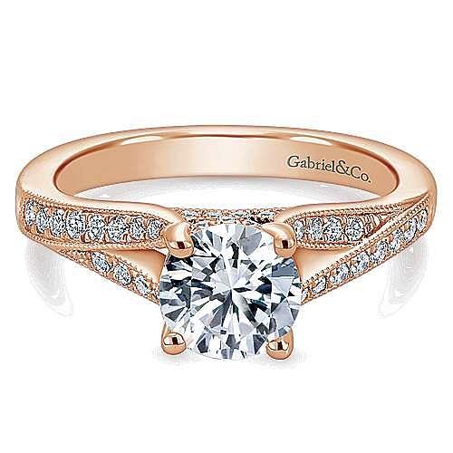 14K Rose Gold Split Shank Round Diamond Engagement Ring