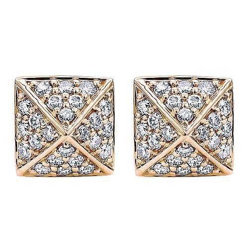 14K Rose Gold Square Diamond Stud Earrings