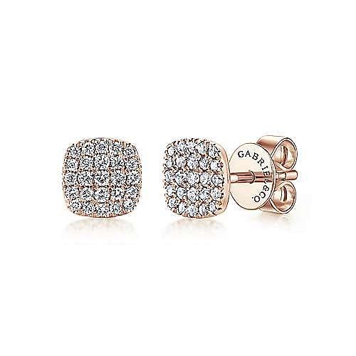 14K Rose Gold Square Pavé Diamond Stud Earrings