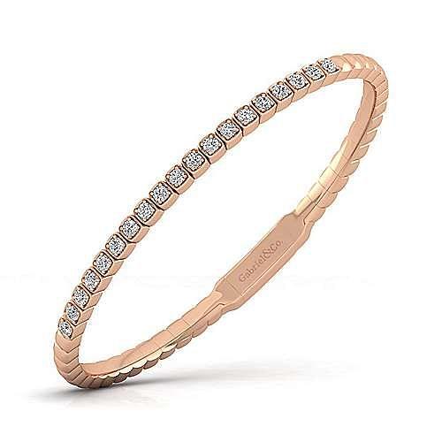 14K Rose Gold Square Set Diamond Bangle