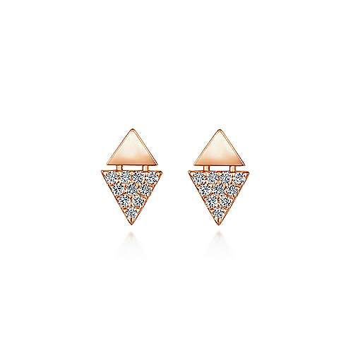 14K Rose Gold Stacked Triangle Diamond Stud Earrings