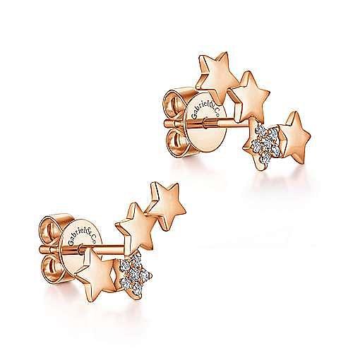 14K Rose Gold Star Shaped Pavé Diamond Stud Earrings