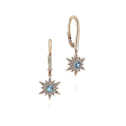 14K Rose Gold Swiss Blue Topaz Star Drop Earrings