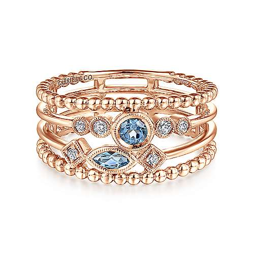 14K Rose Gold Swiss Blue Topaz and Diamond Multi Row Ring