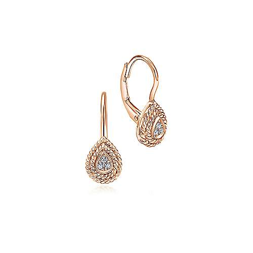 14K Rose Gold Teardrop Diamond Drop Earrings with Twisted Rope Frames