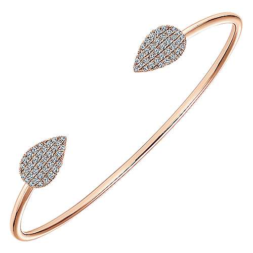 14K Rose Gold Teardrop Diamond Pavé Split Cuff Bangle