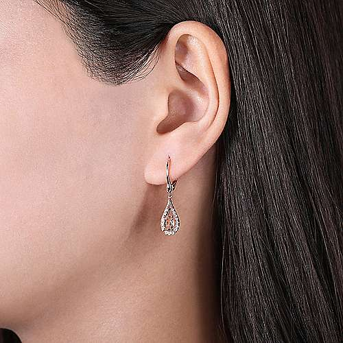 14K Rose Gold Teardrop Morganite and Diamond Drop Earrings