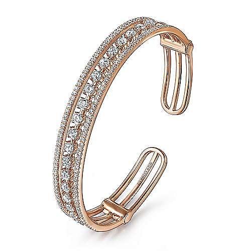 14K Rose Gold Three Row Diamond Cuff Bracelet