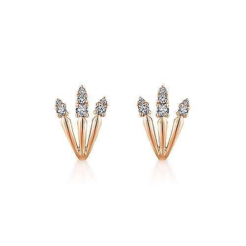 14K Rose Gold Three Row Diamond Tip Stud Earrings