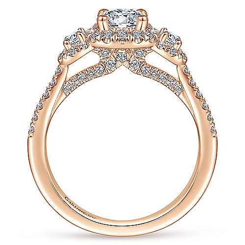 14K Rose Gold Three Stone Halo Diamond Engagement Ring