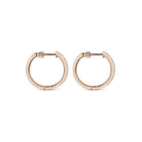 14K Rose Gold Tiger Claw Set 15mm Round Huggie Earrings