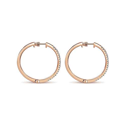14K Rose Gold Tiger Claw Set 25mm Round Classic Diamond Hoop Earrings