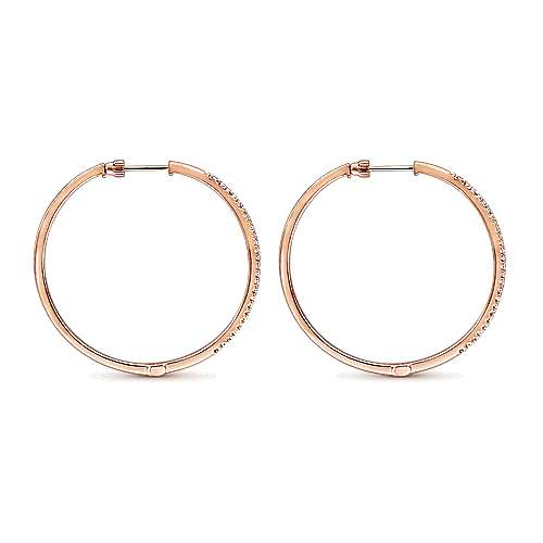 14K Rose Gold Tiger Claw Set 40mm Round Classic Diamond Hoop Earrings