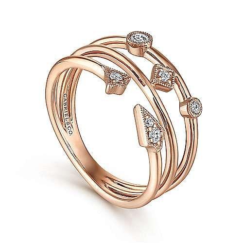 14K Rose Gold Tri Band Diamond Station Ring