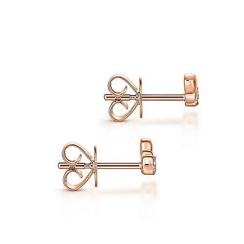 14K Rose Gold Triple Teardrop Station Curved Stud Diamond Earrings