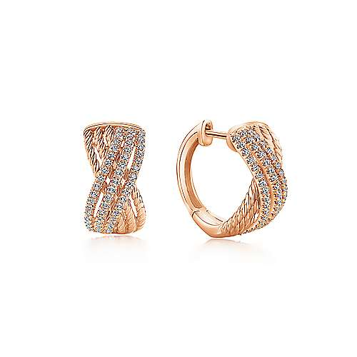 14K Rose Gold Twisted 10mm Diamond Huggie Earrings