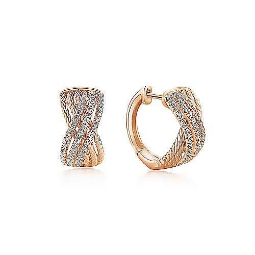 14K Rose Gold Twisted 10mm Diamond Huggies