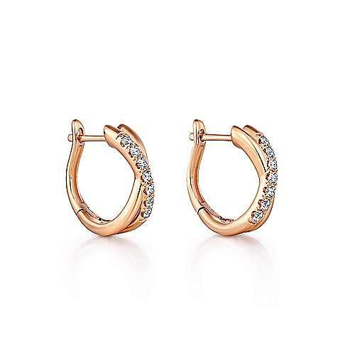 14K Rose Gold Twisted 15mm Diamond Huggie Earrings