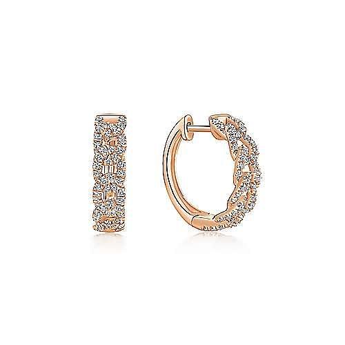 14K Rose Gold Twisted 15mm Diamond Huggies