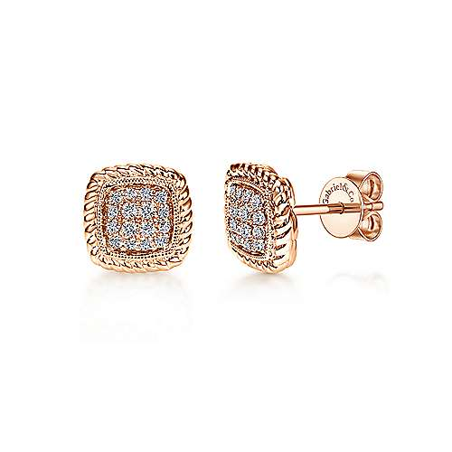 14K Rose Gold Twisted Cluster Diamond Stud Earrings
